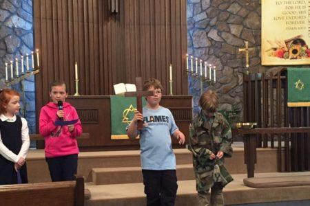 children leading chapel