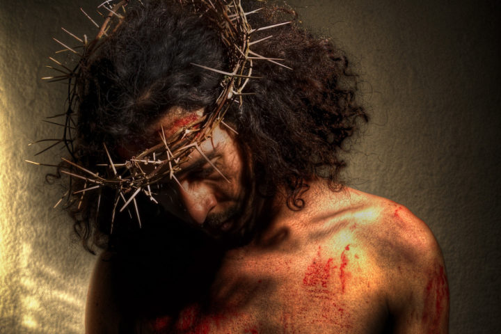 Jesus wearing crown of thorns - suffering servant