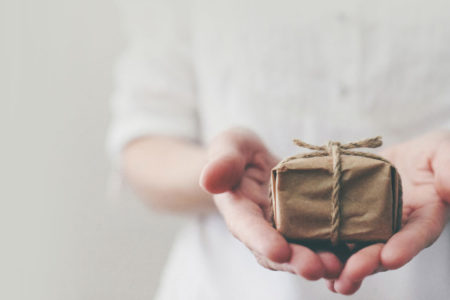 hands holding simple gift