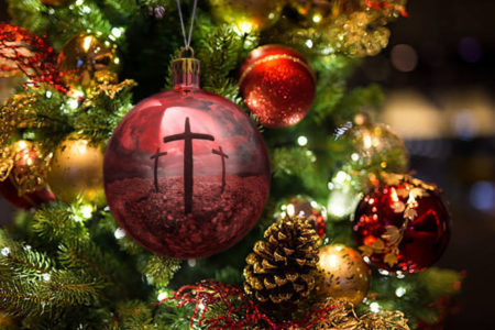 christmas ornament cross reflection immanuel lutheran church joplin missouri