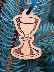 wooden ornament christmas tree chalice holy communion immanuel lutheran church joplin missouri