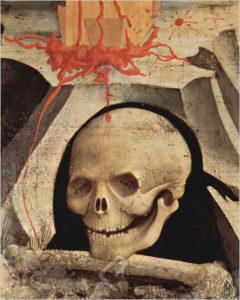 Skull at the foot of Jesus' cross