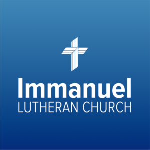 immanuel logo white on blue square. Immanuel Lutheran Church LCMS. Joplin, Missouri. what to expect.