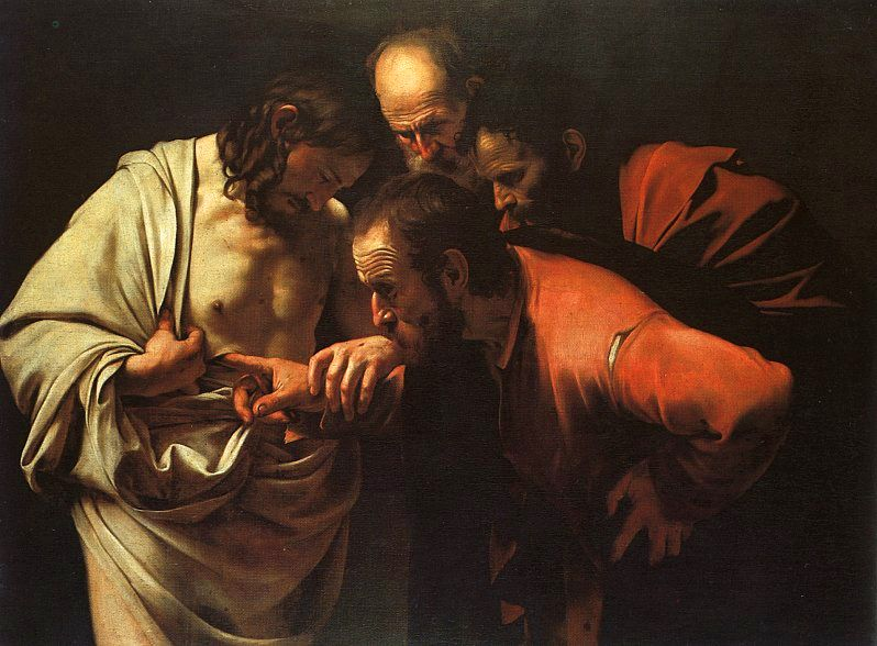 The Incredulity of Saint Thomas by Caravaggio, c. 1602 | Though Now For A Little While sermon by Rev. Gregory Mech | Immanuel Lutheran Church LCMS | Joplin, Missouri