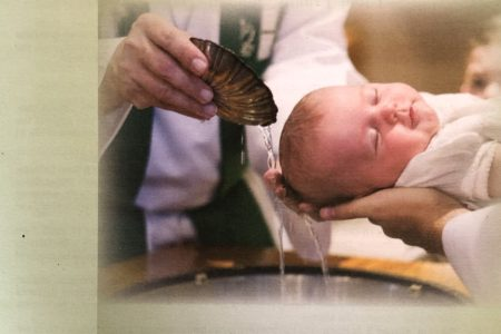 Holy Trinity Sunday bulletin cover. Immanuel Lutheran Church LCMS. Joplin, Missouri. Rev. Gregory Mech. Baptizing them in the name of the Father and of the Son and of the Holy Spirit.