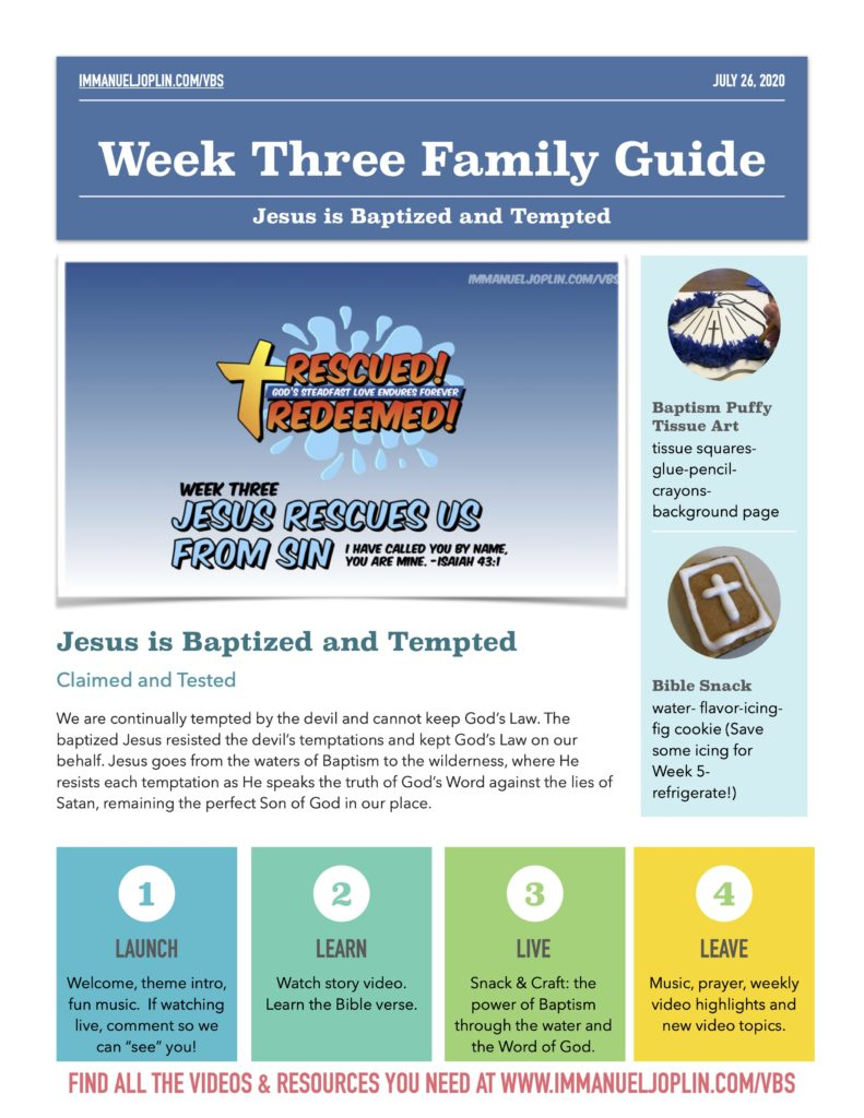 VBS At Home Week Three Family Guide. Jesus Rescues Us From Sin.
