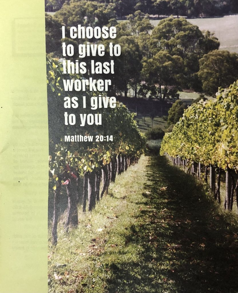Sixteenth Sunday After Pentecost bulletin cover. I choose to give to this last worker as I give to you. Matthew 20 14