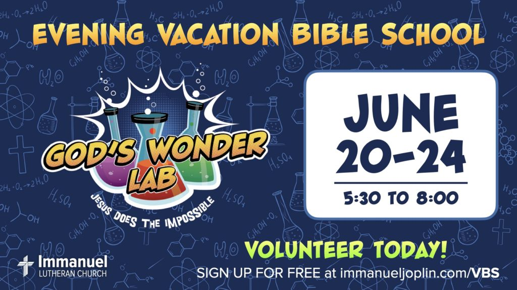 Vacation Bible School 2021 Immanuel Lutheran Church LCMS. Martin Luther School. Joplin Missouri.
